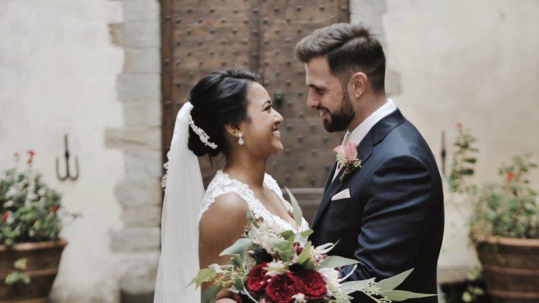 giovane coppia norvegese-australiana matrimonio italiano al Castello del Trebbio in Toscana